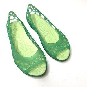 Crocs Jelly Mary Jane Sandal Flats Green Comfort